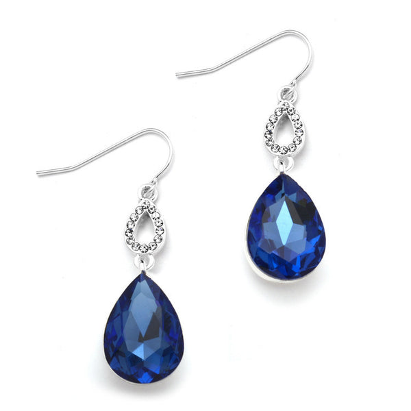 Royal Blue Crystal Teardrops Prom or Bridesmaids Wire Earrings-Earrings-Here Comes The Bling™