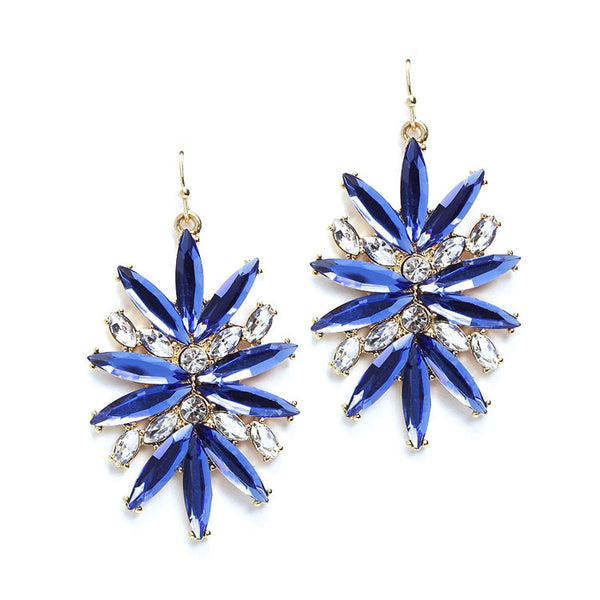 Royal Blue Starburst Bling Earrings for Prom or Homecoming-Earrings-Here Comes The Bling™