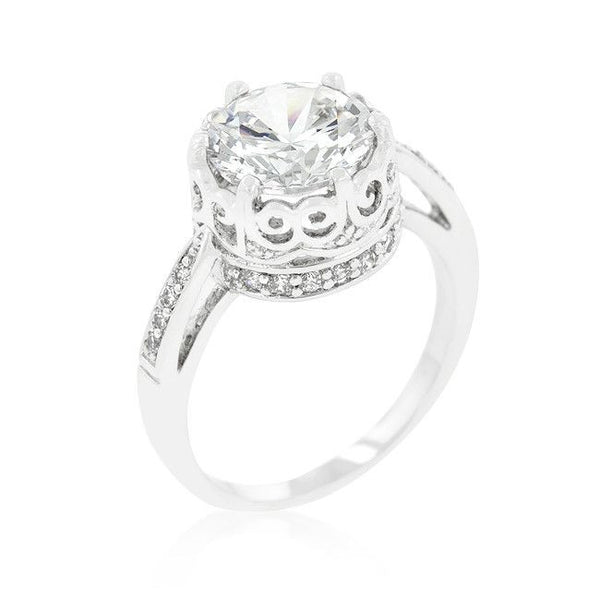Royal Crest Filigree Cubic Zirconia Ring-Rings-Here Comes The Bling™