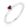 Ruby Red Heart Solitaire Ring-Rings-Here Comes The Bling