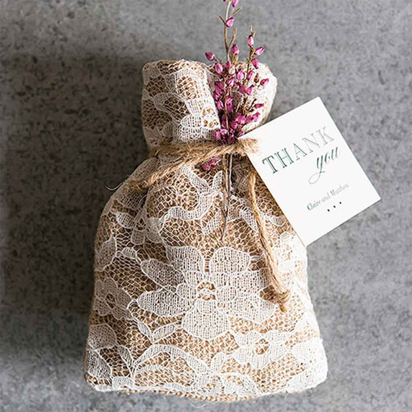 Rustic Chic Burlap and Lace Drawstring Favor Bag Pack of 12-Favors-Bags-Here Comes The Bling™