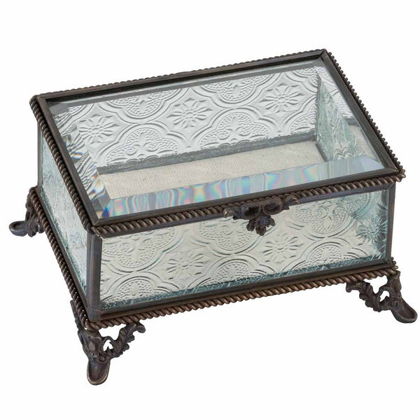 Rustic Rectangular Glass Jewelry Box-Jewelry Box-Here Comes The Bling™