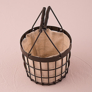 Rustic Wire Flower Basket with Fabric Liner Chocolate Brown-Flower Basket-Here Comes The Bling™