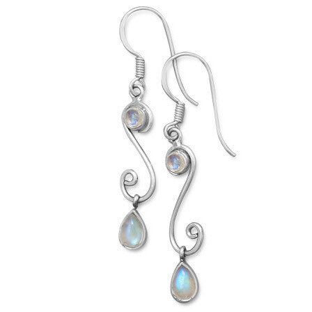 S Design Drop Earrings with Rainbow Moonstone-Earrings-Here Comes The Bling™