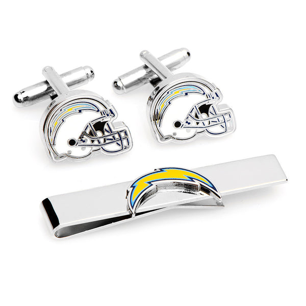 San Diego Chargers Cufflinks and Tie Bar Gift Set-Mens 3 Piece Gift Set-Here Comes The Bling™