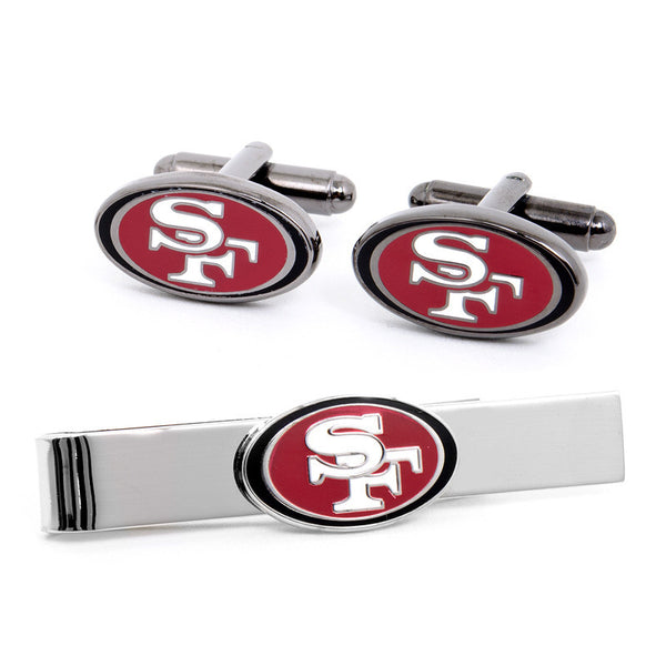 San Francisco 49er's Cufflinks and Tie Bar Gift Set-Mens 3 Piece Gift Set-Here Comes The Bling™