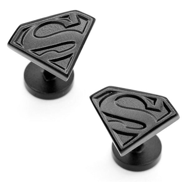 Satin Black Superman Shield Cufflinks-Cufflinks-Here Comes The Bling™