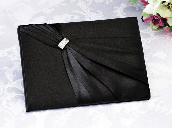 Satin Sash Guest Book-Black-Guest Books-Here Comes The Bling™