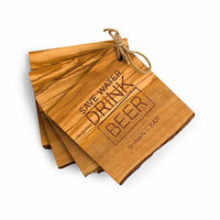 """Save Water Drink Beer"" Rustic Olive Wood Coasters (Set of 4)-Coasters-Here Comes The Bling™"
