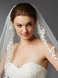 Scalloped Lace Edge Fingertip Mantilla Veil with Crystal & Beads-Veils-Here Comes The Bling™