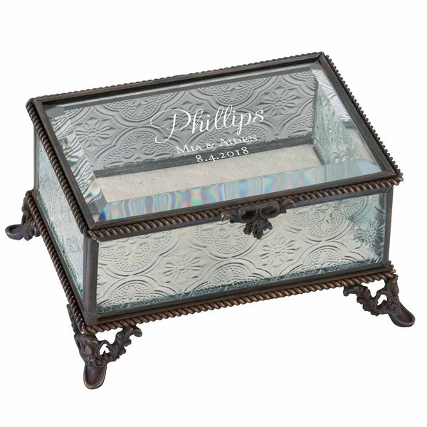 Script Text Personalized Rustic Rectangular Glass Jewelry Box-Jewelry Box-Here Comes The Bling™