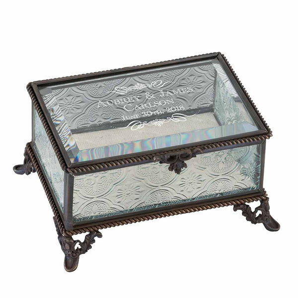 Scroll Name Personalized Rustic Rectangular Glass Jewelry Box-Jewelry Box-Here Comes The Bling™