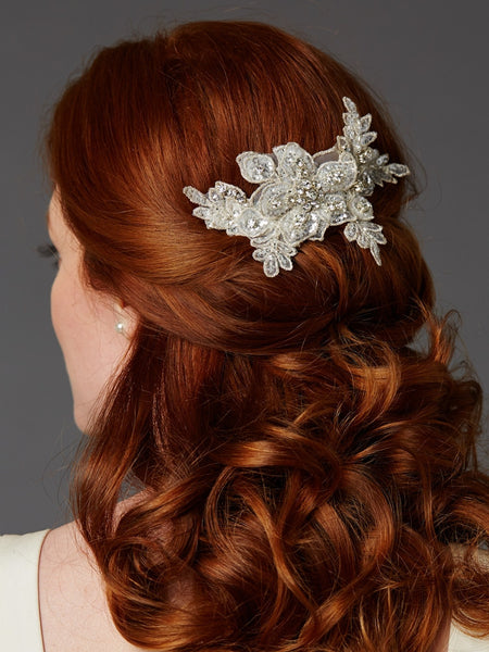 Sculptured Europea Lace Bridal Comb with Crystals and Sequins-Combs-Here Comes The Bling™