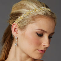 Seed Beads and Crystal Rhinestone Braided Gold Bridal Headband-Headband-Here Comes The Bling™