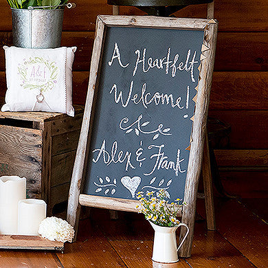 Self Standing Chalkboard Sign with Rustic Wood Frame-Decor-Sign-Here Comes The Bling™