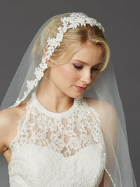 Semi-Waltz Ballet Length One Tier Bridal Veil with Beaded Lace Top-Veils-Here Comes The Bling™