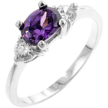 Serenade Oval Cubic Zirconia Ring in Amethyst Purple-Rings-Here Comes The Bling™