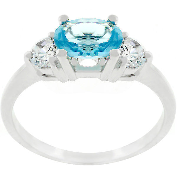 Serenade Oval Cubic Zirconia Ring in Aqua Blue-Rings-Here Comes The Bling™