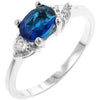 Serenade Oval Cubic Zirconia Ring in Sapphire Blue-Rings-Here Comes The Bling™