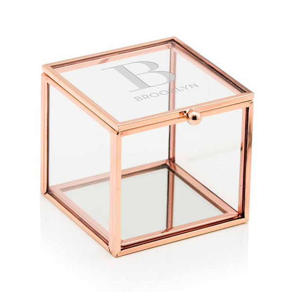 """Serif Initial"" Etched Monogram Rose Gold Small Glass Jewelry Box-Jewelry Box-Here Comes The Bling™"