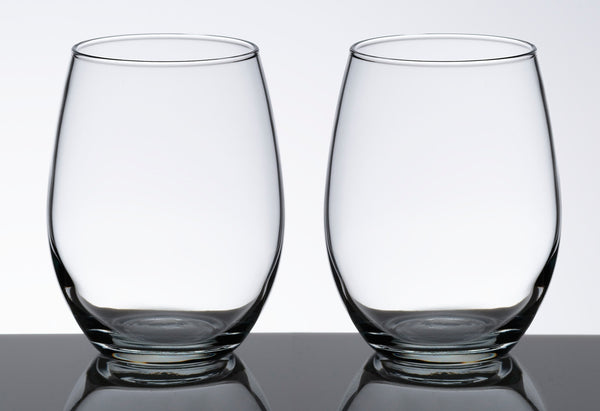 Set of 2 Stemless Wine Glasses-Stemless Glassware-Here Comes The Bling™