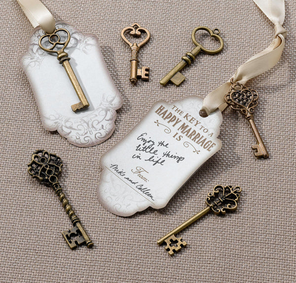 Set of 24 Bronze Key Tags-Favors-Keys-Here Comes The Bling™