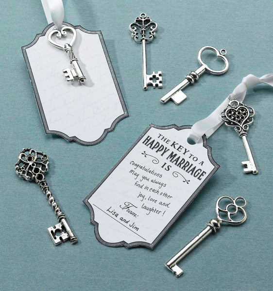 Set of 24 Silver Key Tags-Favors-Keys-Here Comes The Bling™