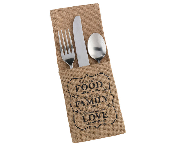 Set of 4 Food & Family Burlap Silverware Holders-Decor-Table-Here Comes The Bling™