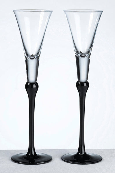 Set Of Tall Flutes -Black-Toasting Flutes-Here Comes The Bling™
