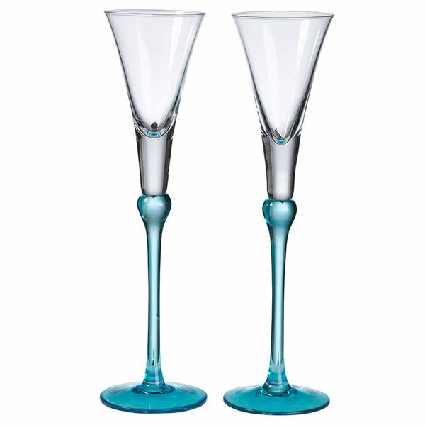 Set of Tall Flutes in Aqua-Toasting Flutes-Here Comes The Bling™