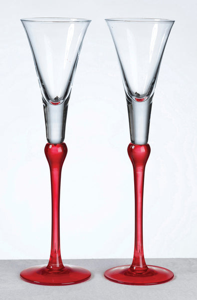 Set of Tall Flutes -Red-Toasting Flutes-Here Comes The Bling™