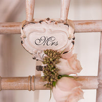 Shabby Chic Hook Set with Mr. and Mrs. Inscription White-Decor-Chairs-Here Comes The Bling™