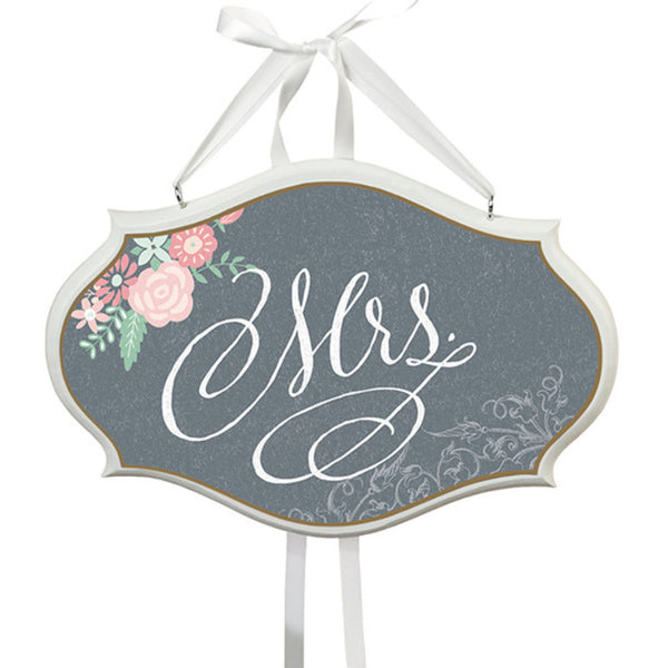 "Shabby Chic ""Mr.& Mrs."" Faux Chalkboard Chair Sign-Decor-Chairs-Here Comes The Bling™"