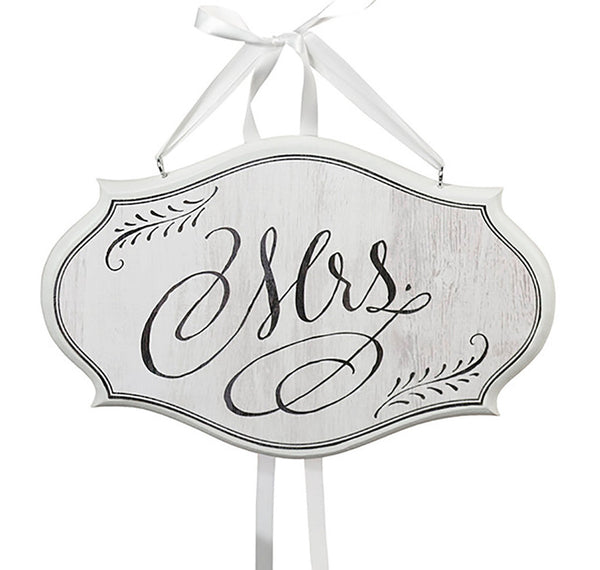 "Shabby Chic ""Mrs. & Mr."" Classic Flourish Chair Signs-Decor-Chairs-Here Comes The Bling™"