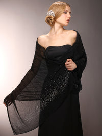 Sheer Black Crinkle Evening Shawl with Scattered Crystals-Wrap-Here Comes The Bling™