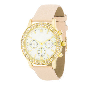 Shell Pearl & Crystal Cream Watch-Watches-Here Comes The Bling