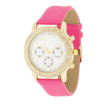 Shell Pearl & Crystal Hot Pink Watch-Watches-Here Comes The Bling