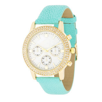 Shell Pearl & Crystal Mint Watch-Watches-Here Comes The Bling