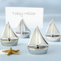 """Shining Sails"" Silver Place Card Holders (Set of Four)-Place Card Holder-Here Comes The Bling™"