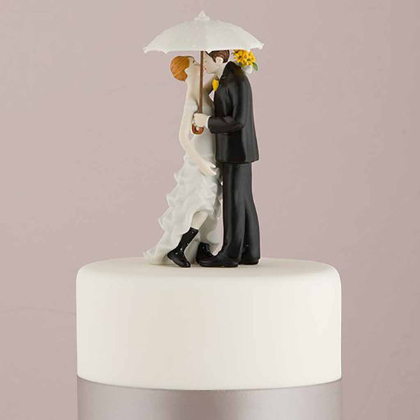 """Showered with Love"" Couple Figurine Wedding Cake Topper-Cake Toppers-Here Comes The Bling™"