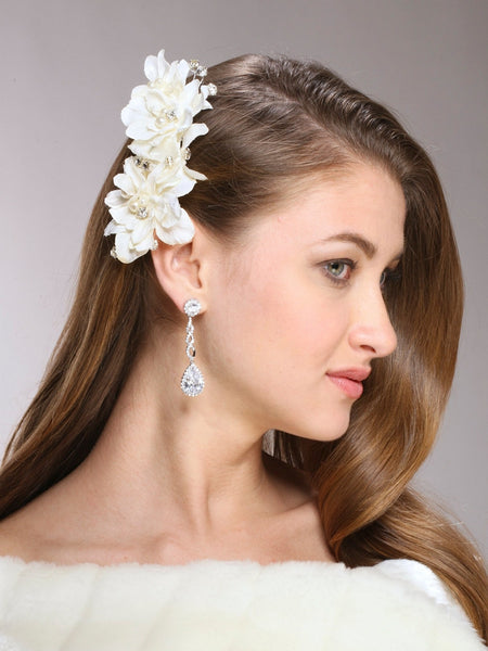 Silk Flower, Pearl & Crystal Vintage Bridal Hair Clip-Clips-Here Comes The Bling™