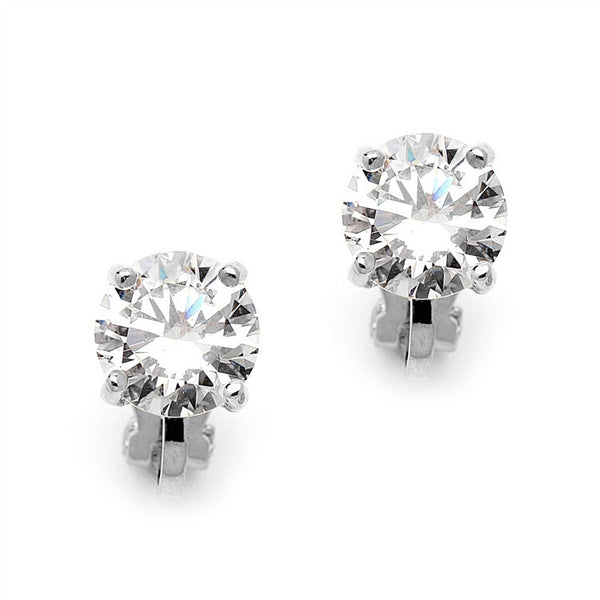 Silver 8mm CZ Solitaire Clip-On Earrings-Earrings-Here Comes The Bling™