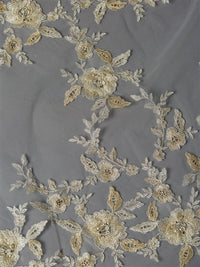 Silver and Gold Embroidered Floral Lace Cathedral Veil-Veils-Here Comes The Bling™