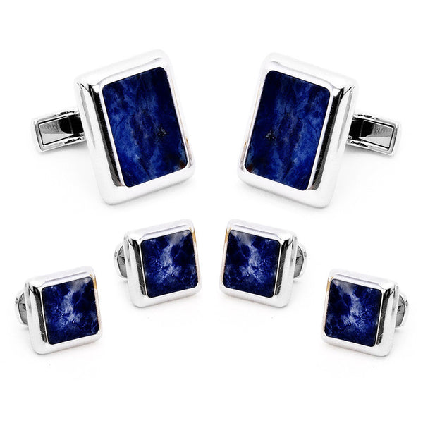 Silver and Lapis JFK Presidential Stud Set-Tux Stud Set-Here Comes The Bling™