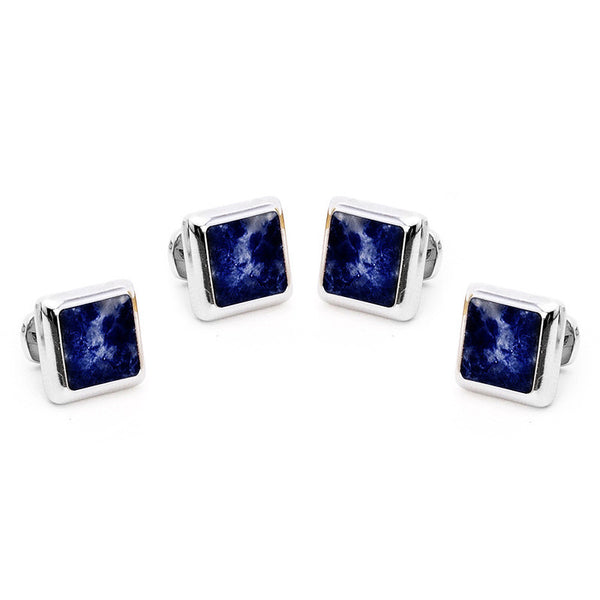 Silver and Lapis JFK Presidential Studs-Tux Stud Set-Here Comes The Bling™