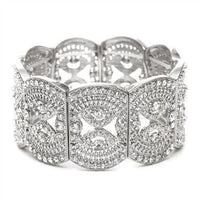 Silver Art Deco Filigree Crystal Stretch Bracelet-Bracelets-Here Comes The Bling™