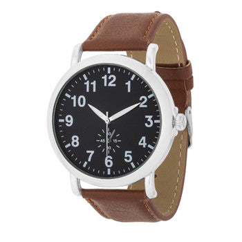 Silver Classic Watch With Brown Leather Strap-Watches-Here Comes The Bling