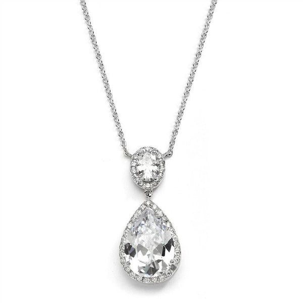 Silver Couture Cubic Zirconia Pear-Shaped Bridal Necklace-Necklaces-Here Comes The Bling™
