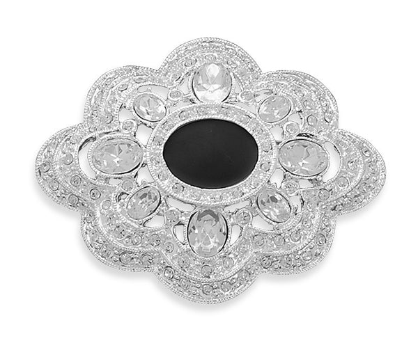 Silver Crystal Fashion Pin with Epoy-Brooches-Here Comes The Bling™