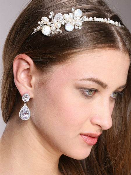 Silver CZ Pear-shaped Drop Bridal Earrings-Earrings-Here Comes The Bling™